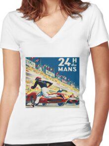 Vintage - 24 Hours of Le Mans (24 H du Mons) Women's Fitted V-Neck T-Shirt