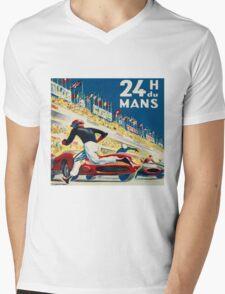 Vintage - 24 Hours of Le Mans (24 H du Mons) Mens V-Neck T-Shirt