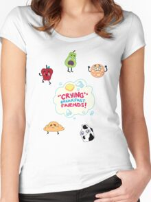 """Crying"" Breakfast Friends! // Steven Universe Women's Fitted Scoop T-Shirt"