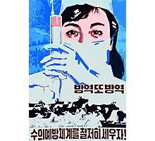 Let us establish the preventive veterinarian system north Korean propaganda poster Photographic Print