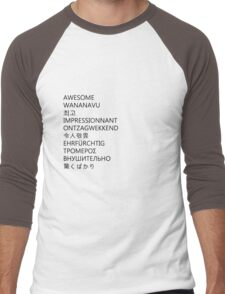 awesome languages (black) Men's Baseball ¾ T-Shirt