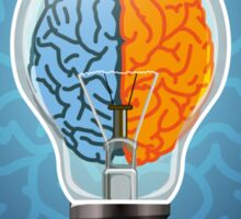 Symbol of idea with the brain shape left and right Sticker