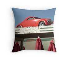 Red Car Over Steakhouse Sign, Holbrook, Arizona. Throw Pillow