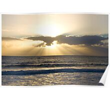 Sunrays over Back Beach in Bunbury Poster