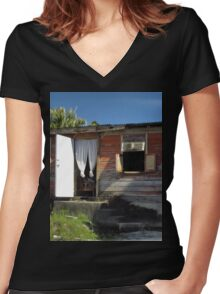 an unbelievable Barbados landscape Women's Fitted V-Neck T-Shirt