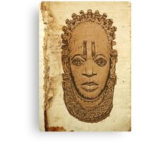 African traditional mask on old paper Canvas Print
