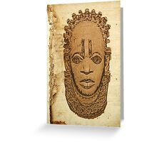 African traditional mask on old paper Greeting Card