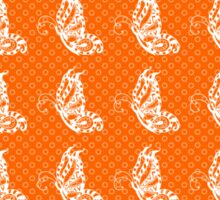 Fluttering Butterflies - Orange And White Sticker