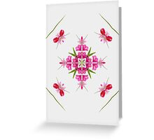 Summer greetings from my garden! flower power, columbine, peony and rhododendron,  Greeting Card