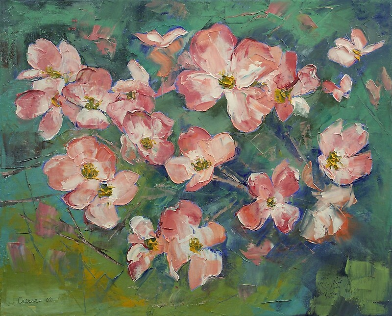 dogwood flower painting amp mixed media greeting cards