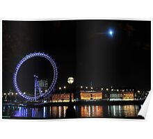 London Eye and Moon In The Sky Poster
