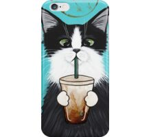 Tuxedo Cat with Iced Coffee iPhone Case/Skin