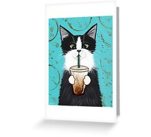 Tuxedo Cat with Iced Coffee Greeting Card