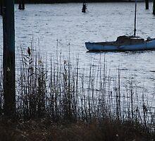 Boat at dusk - Tamar River, Launceston by Jenni Greene