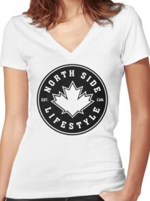 NSL Canada Black Leaf Crest Women's Fitted V-Neck T-Shirt