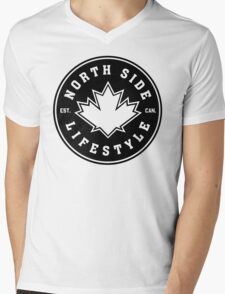 NSL Canada Black Leaf Crest Mens V-Neck T-Shirt