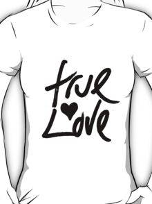 """True Love"" Typography and Painted Heart T-Shirt"