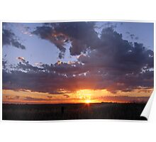 December Sunset near Nhill in the Western Victorian Wheatbelt Poster