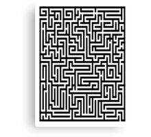 Elegant Black and White Maze Pattern Canvas Print