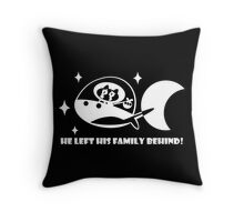 Cookie Cat Ship - Black & White w/ text Throw Pillow