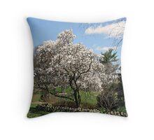 Saucer Magnolia Tree Throw Pillow