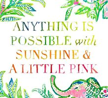 Lilly Pulitzer - Anything is Possible With Sunshine and A Little Pink by juliapram