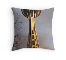 Sunset Space Needle Throw Pillow