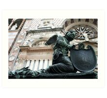 In front of a Church in Bergamo, Italy Art Print