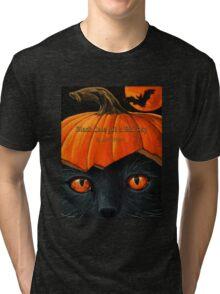 """Black Cats get a Bad Rap - """"Pumpkin Hat"""" Tri-blend T-Shirt"""