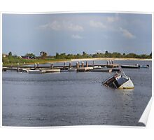 Sunken Ship, Davis Islands Yacht Club Tampa, Florida Poster