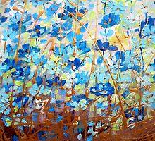 Blue Floral, Modern by HannahTiffinArt