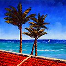 Red Roof & Palm Trees on the Caribbean by sesillie