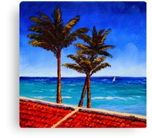Red Roof & Palm Trees on the Caribbean Canvas Print