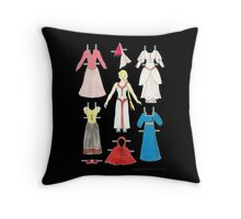 Belle - Princess paper doll BLACK TOTE Throw Pillow