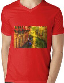 Italian Red Mens V-Neck T-Shirt