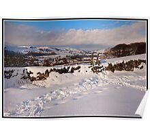 Views across a snowy landscape Poster