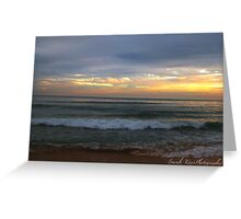 The beach at sunset  Greeting Card