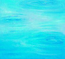 Modern Blue Haze Rain Drop by HannahTiffinArt