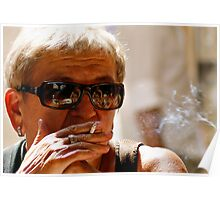 Smoker on a Side Street Poster
