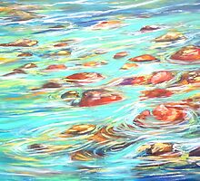 Flowing River, Bright, Expressionist by HannahTiffinArt