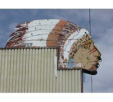 Indian Head Sign in Holbrook, AZ. Photographic Print