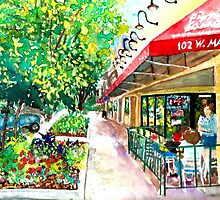 Pizza or Ice Cream, Impressionist, City Landscape by HannahTiffinArt