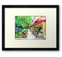 Pizza or Ice Cream, Impressionist, City Landscape Framed Print