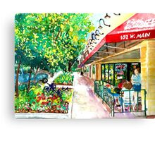 Pizza or Ice Cream, Impressionist, City Landscape Canvas Print