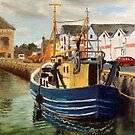 Galway City Ireland Commercial Boat  by Daniel Fishback
