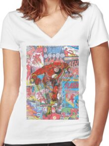 Vintage Comic Flash Women's Fitted V-Neck T-Shirt