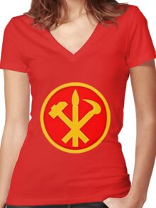 Workers Party of Korea emblem symbol Women's Fitted V-Neck T-Shirt