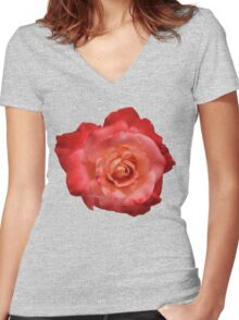 Ombré Red Garden Rose I - Hipster/Pretty/Trendy Flowers Women's Fitted V-Neck T-Shirt
