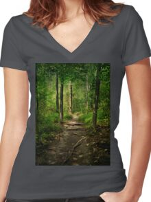 The Hidden Trails of the Old Forests Women's Fitted V-Neck T-Shirt