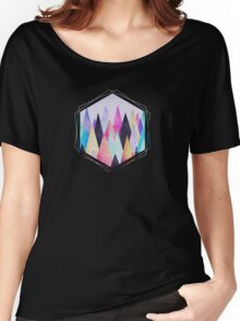 Colorful Abstract Geometric Triangle Peak Wood's  Women's Relaxed Fit T-Shirt